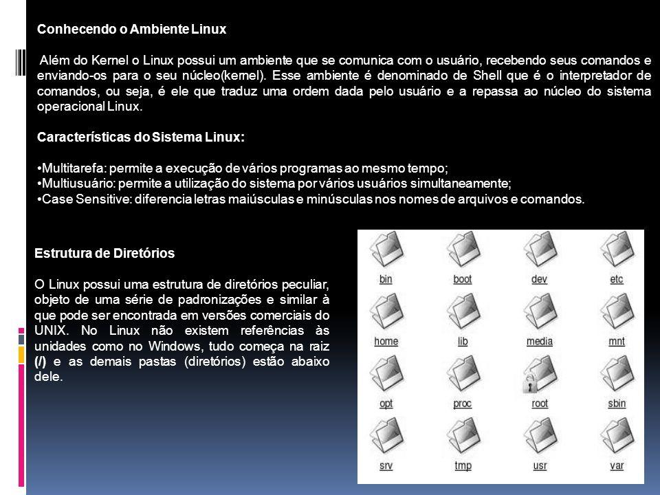 Conhecendo o Ambiente Linux Além do Kernel o Linux possui um ambiente que se comunica com o usuário, recebendo seus comandos e enviando-os para o seu