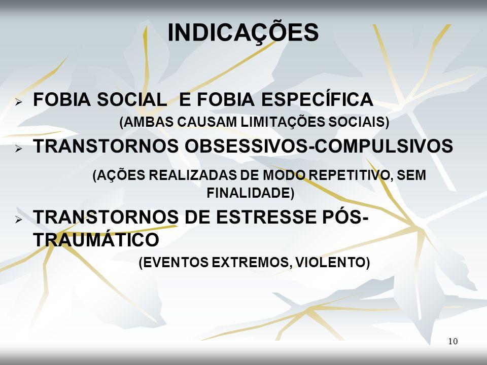 INDICAÇÕES FOBIA SOCIAL E FOBIA ESPECÍFICA (AMBAS CAUSAM LIMITAÇÕES SOCIAIS) TRANSTORNOS OBSESSIVOS-COMPULSIVOS (AÇÕES REALIZADAS DE MODO REPETITIVO,
