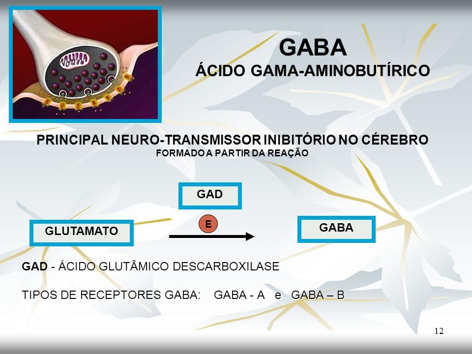 GABA ÁCIDO GAMA-AMINOBUTÍRICO PRINCIPAL NEURO-TRANSMISSOR INIBITÓRIO NO CÉREBRO FORMADO A PARTIR DA REAÇÃO GAD - ÁCIDO GLUTÂMICO DESCARBOXILASE TIPOS
