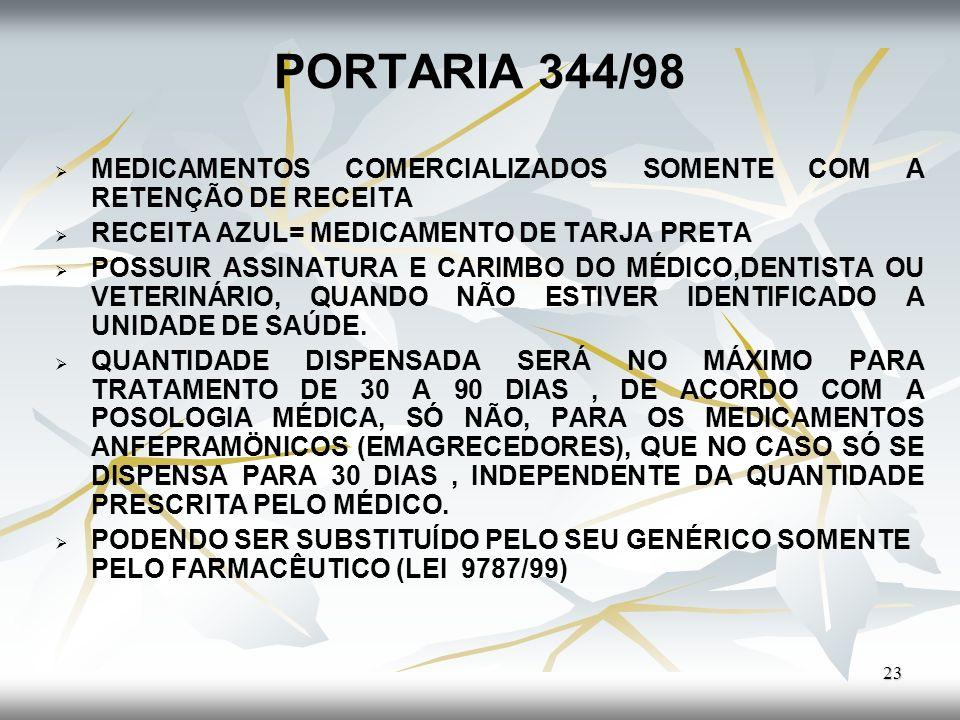 PORTARIA 344/98 23 MEDICAMENTOS COMERCIALIZADOS SOMENTE COM A RETENÇÃO DE RECEITA RECEITA AZUL= MEDICAMENTO DE TARJA PRETA POSSUIR ASSINATURA E CARIMB