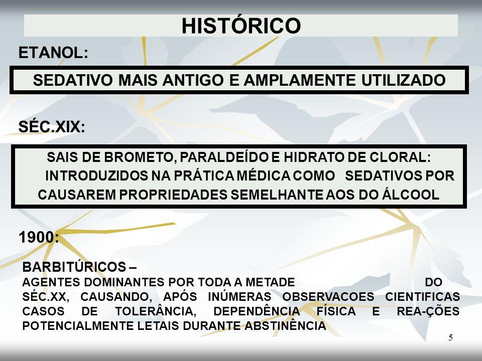 HISTÓRICO ETANOL: SÉC.XIX: 1900: 5 SEDATIVO MAIS ANTIGO E AMPLAMENTE UTILIZADO SAIS DE BROMETO, PARALDEÍDO E HIDRATO DE CLORAL: INTRODUZIDOS NA PRÁTIC