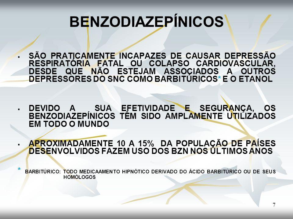 BENZODIAZEPÍNICOS POSSUEM PROPRIEDADES: a) a) SEDATIVO-HIPNÓTICAS b) b) ANSIOLÍTICAS c) c) ANTICONVULSIVANTES d) d) MIORRELAXANTES (Descontraturante) SÃO CONSIDERADOS BASTANTE SEGUROS, UMA VEZ QUE POSSUEM CAPACIDADE LIMITADA, PARA CAUSAR DEPRESSÃO PROFUNDA E POTENCIALMENTE FATAL AO SISTEMA NERVOSO CENTRAL (SNC).