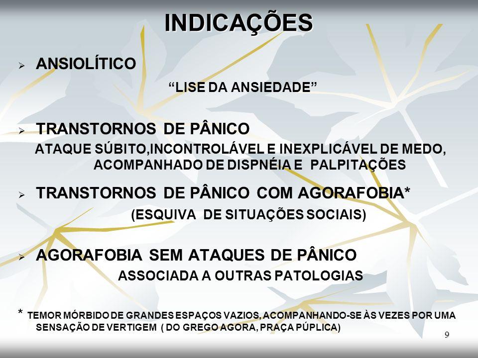 INDICAÇÕES FOBIA SOCIAL E FOBIA ESPECÍFICA (AMBAS CAUSAM LIMITAÇÕES SOCIAIS) TRANSTORNOS OBSESSIVOS-COMPULSIVOS (AÇÕES REALIZADAS DE MODO REPETITIVO, SEM FINALIDADE) TRANSTORNOS DE ESTRESSE PÓS- TRAUMÁTICO (EVENTOS EXTREMOS, VIOLENTO) 10