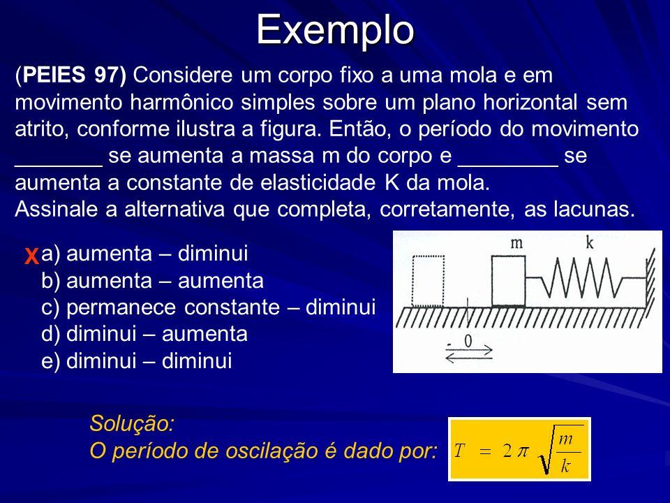 Exemplo X (PEIES 99) Analise as seguintes afirmações: I- O efeito Doppler é a alteração de freqüência percebida por um observador, devido ao movimento relativo entre a fonte e o observador.