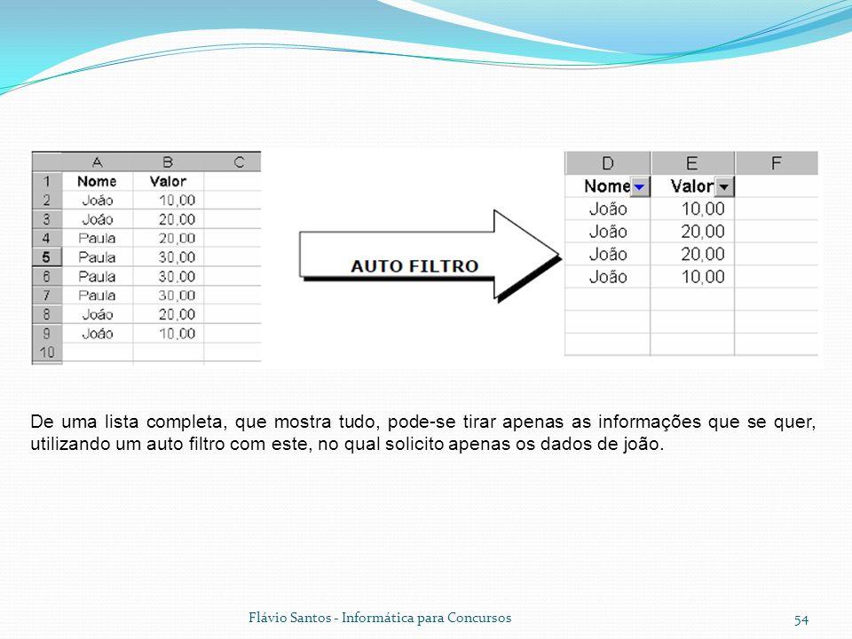 Flávio Santos - Informática para Concursos54 De uma lista completa, que mostra tudo, pode-se tirar apenas as informações que se quer, utilizando um au