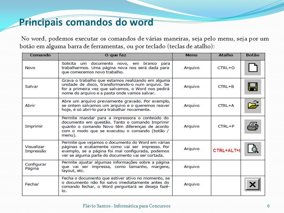 Flávio Santos - Informática para Concursos6 No word, podemos executar os comandos de várias maneiras, seja pelo menu, seja por um botão em alguma barr