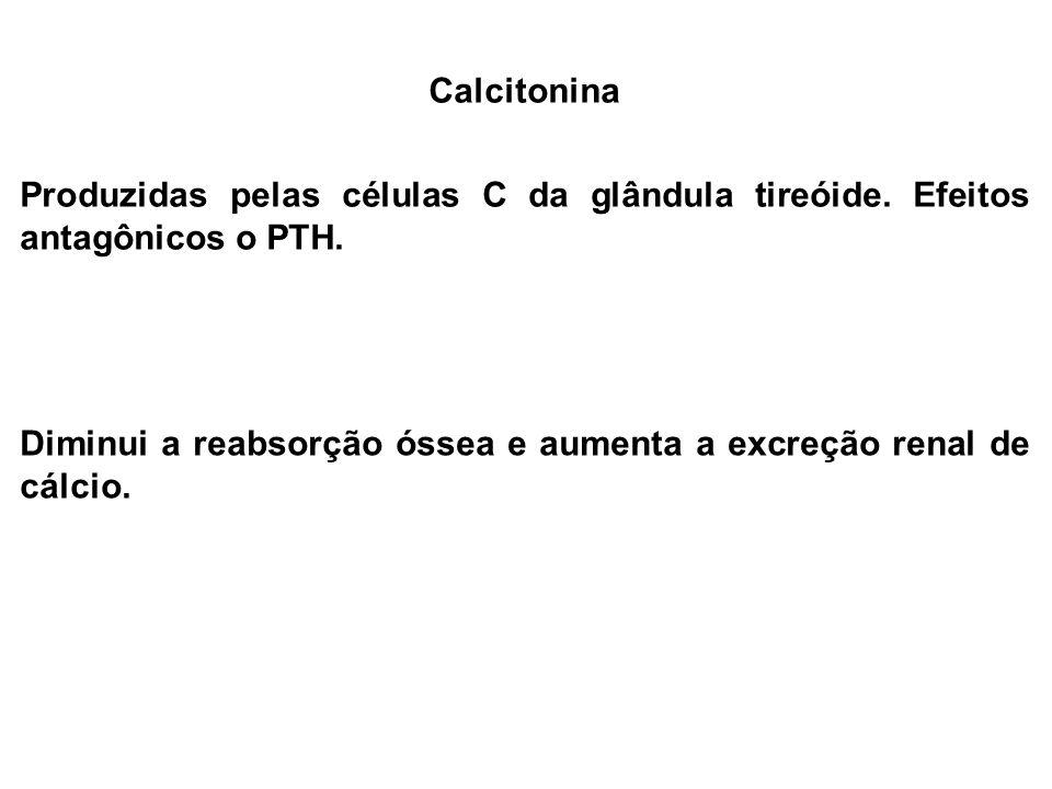 Calcitonina Produzidas pelas células C da glândula tireóide. Efeitos antagônicos o PTH. Diminui a reabsorção óssea e aumenta a excreção renal de cálci