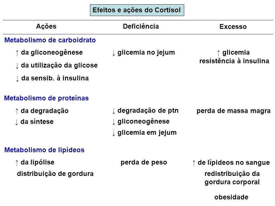 Metabolismo de carboidrato Deficiência Excesso da gliconeogênese da utilização da glicose da sensib. à insulina glicemia no jejum glicemia resistência