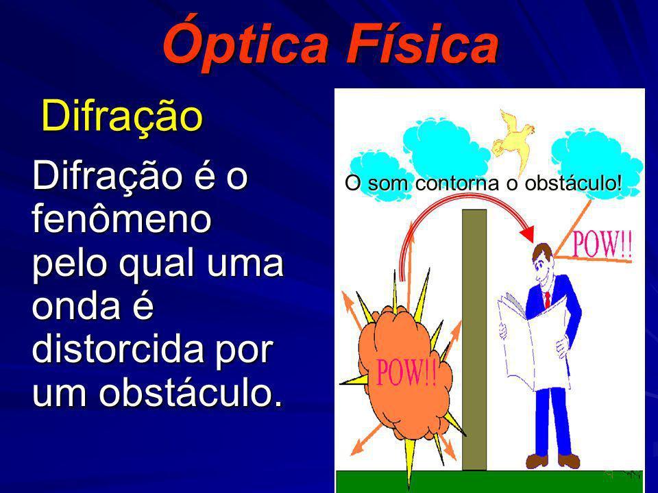 Difração Difração é o fenômeno pelo qual uma onda é distorcida por um obstáculo. Óptica Física O som contorna o obstáculo!
