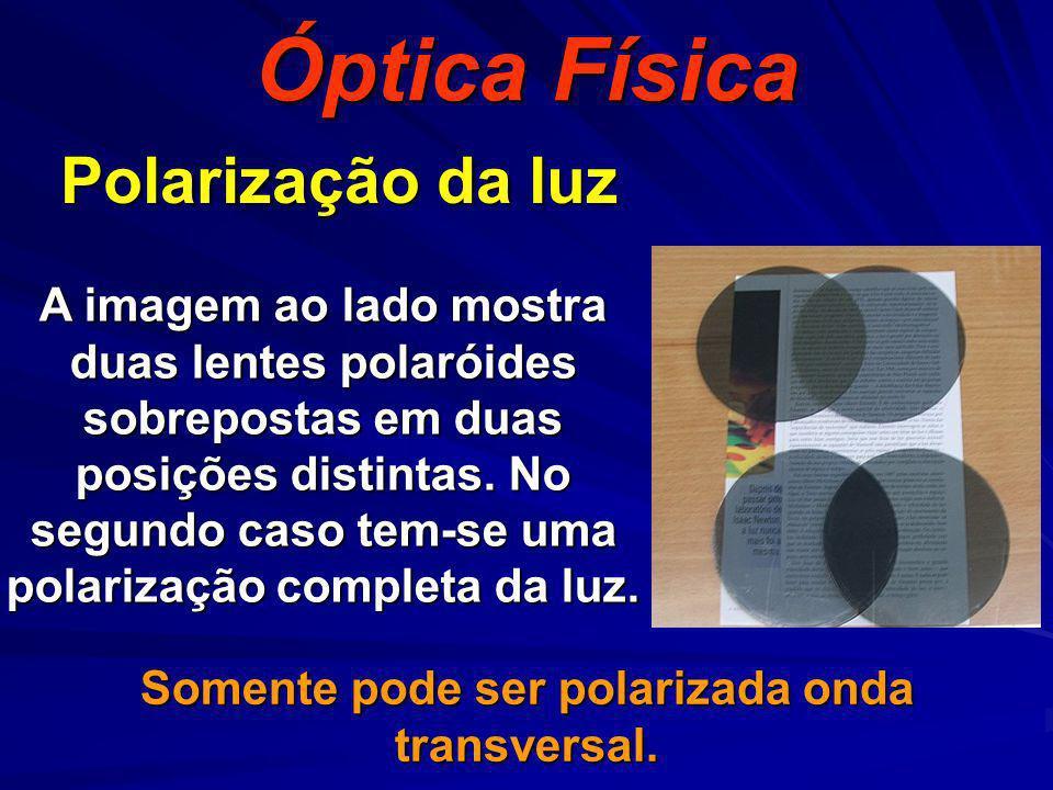 Polarização da luz Óptica Física Somente pode ser polarizada onda transversal. A imagem ao lado mostra duas lentes polaróides sobrepostas em duas posi