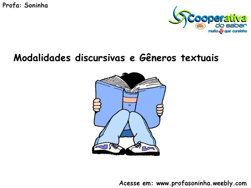 Modalidades discursivas e Gêneros textuais Profa: Soninha Acesse em: www.profasoninha.weebly.com