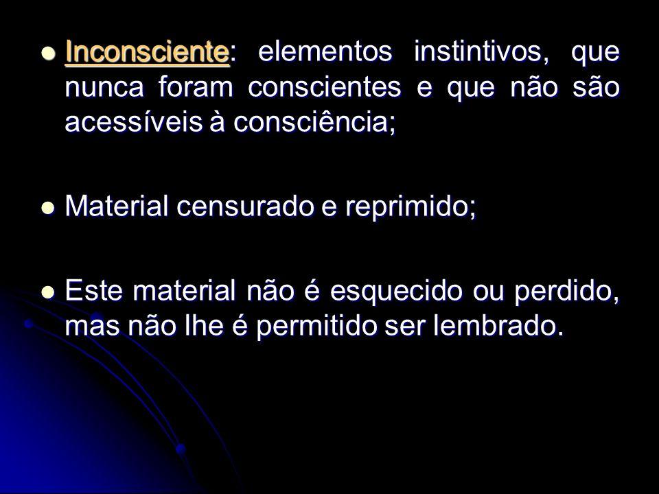 Inconsciente: elementos instintivos, que nunca foram conscientes e que não são acessíveis à consciência; Inconsciente: elementos instintivos, que nunc