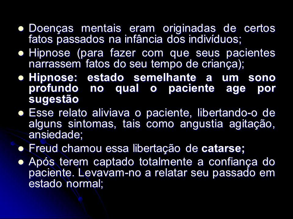 Doenças mentais eram originadas de certos fatos passados na infância dos indivíduos; Doenças mentais eram originadas de certos fatos passados na infân