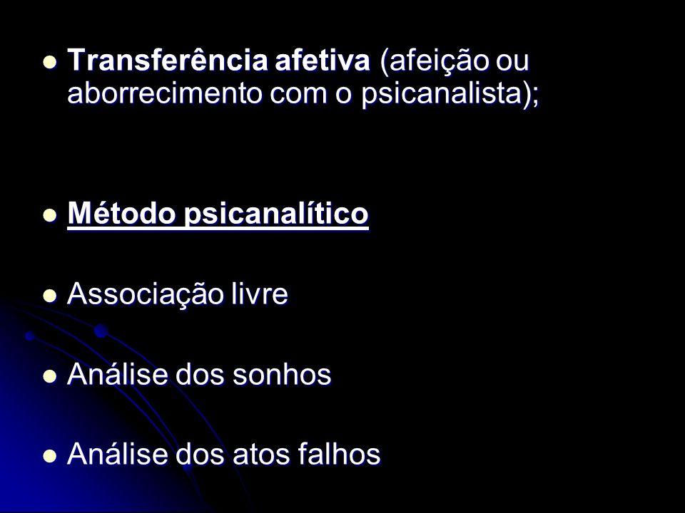 Transferência afetiva (afeição ou aborrecimento com o psicanalista); Transferência afetiva (afeição ou aborrecimento com o psicanalista); Método psica