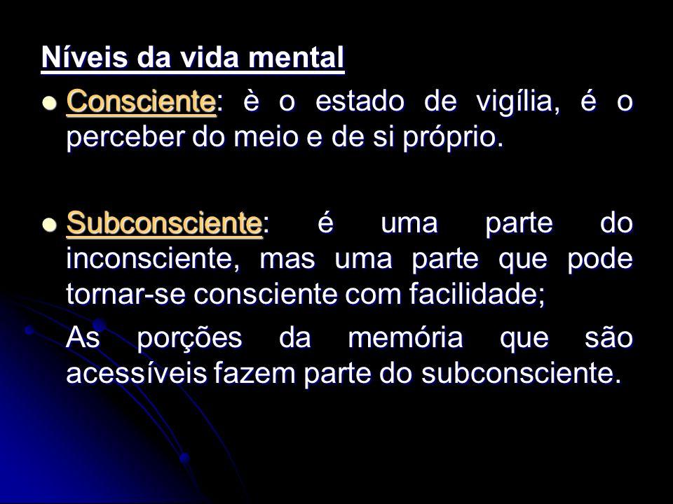 Níveis da vida mental Consciente: è o estado de vigília, é o perceber do meio e de si próprio. Consciente: è o estado de vigília, é o perceber do meio