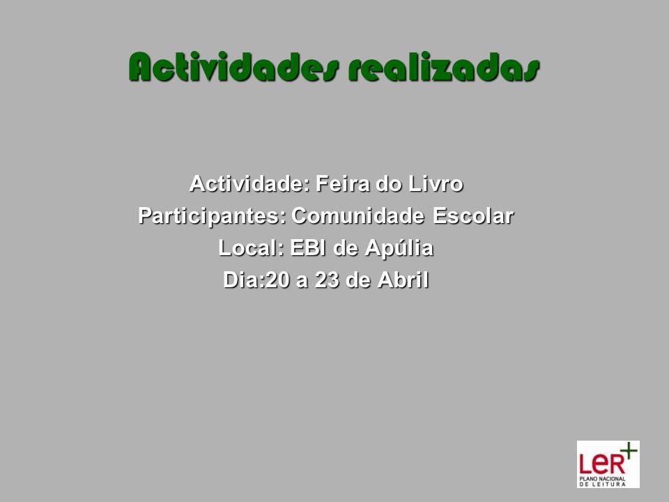 Actividade: Feira do Livro Participantes: Comunidade Escolar Local: EBI de Apúlia Dia:20 a 23 de Abril