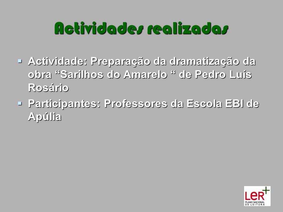 Actividades realizadas Actividade: Preparação da dramatização da obra Sarilhos do Amarelo de Pedro Luís Rosário Actividade: Preparação da dramatização