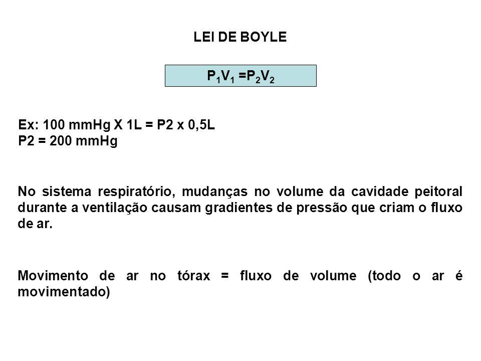 LEI DE BOYLE P 1 V 1 =P 2 V 2 Ex: 100 mmHg X 1L = P2 x 0,5L P2 = 200 mmHg No sistema respiratório, mudanças no volume da cavidade peitoral durante a v