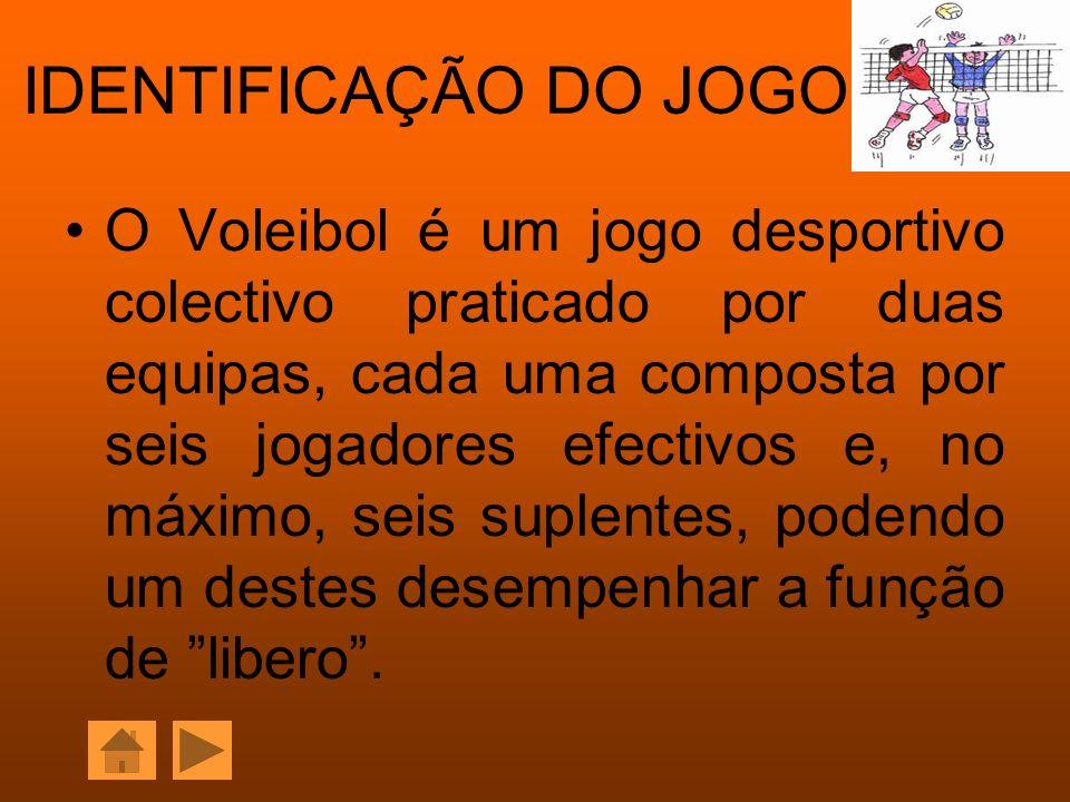 IDENTIFICAÇÃO DO JOGO O Voleibol é um jogo desportivo colectivo praticado por duas equipas, cada uma composta por seis jogadores efectivos e, no máxim