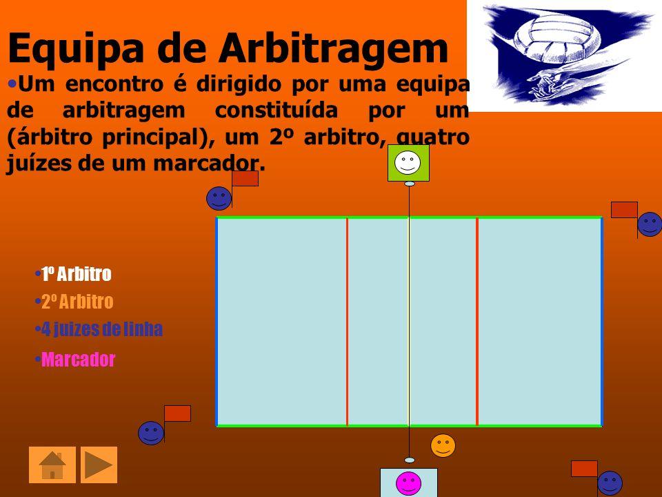 Equipa de Arbitragem Um encontro é dirigido por uma equipa de arbitragem constituída por um (árbitro principal), um 2º arbitro, quatro juízes de um ma