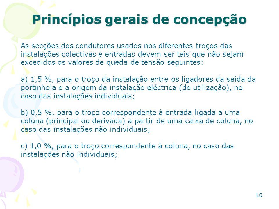 10 Princípios gerais de concepção As secções dos condutores usados nos diferentes troços das instalações colectivas e entradas devem ser tais que não