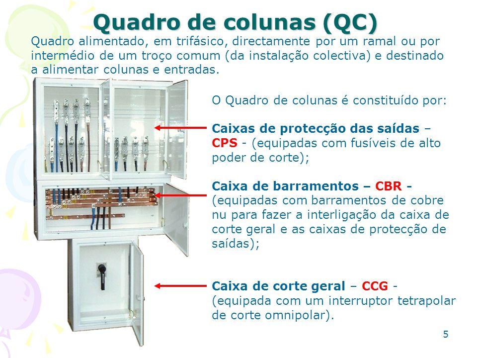 5 Quadro de colunas (QC) O Quadro de colunas é constituído por: Caixas de protecção das saídas – CPS - (equipadas com fusíveis de alto poder de corte)