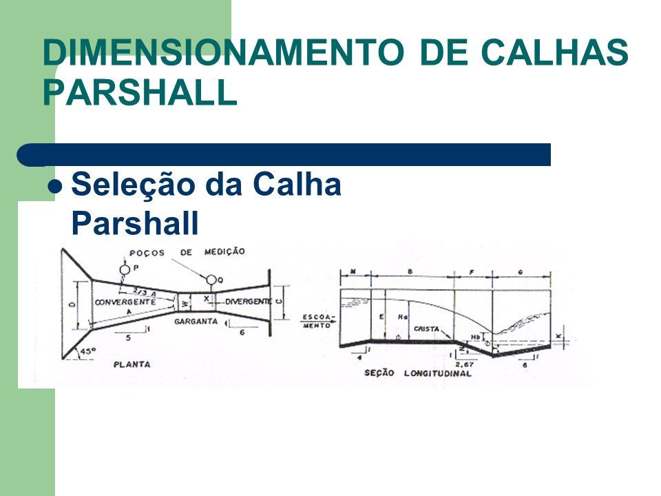 Seleção da Calha Parshall DIMENSIONAMENTO DE CALHAS PARSHALL