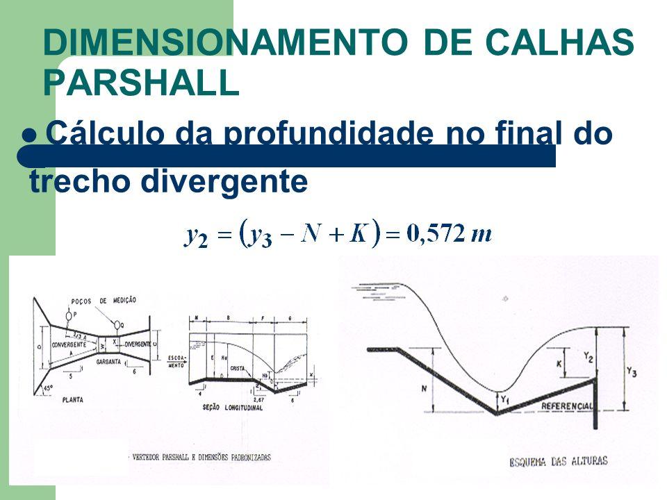 DIMENSIONAMENTO DE CALHAS PARSHALL Cálculo da profundidade no final do trecho divergente