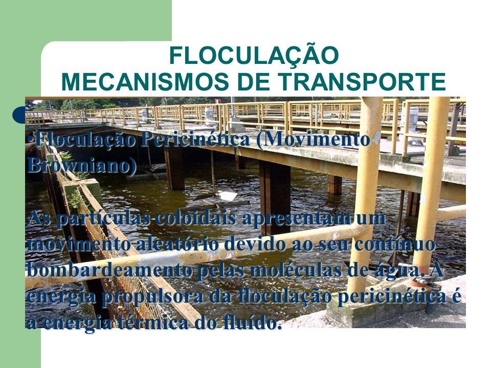 FLOCULAÇÃO MECANISMOS DE TRANSPORTE Floculação Pericinética (Movimento Browniano)Floculação Pericinética (Movimento Browniano) As partículas coloidais