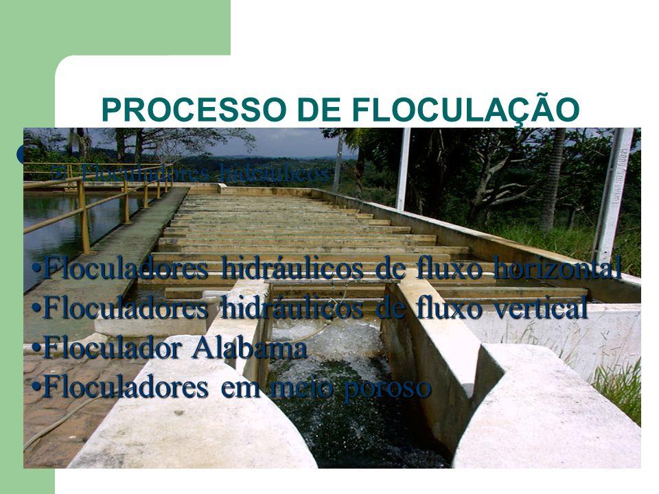 PROCESSO DE FLOCULAÇÃO Floculadores hidráulicos Floculadores hidráulicos de fluxo horizontalFloculadores hidráulicos de fluxo horizontal Floculadores