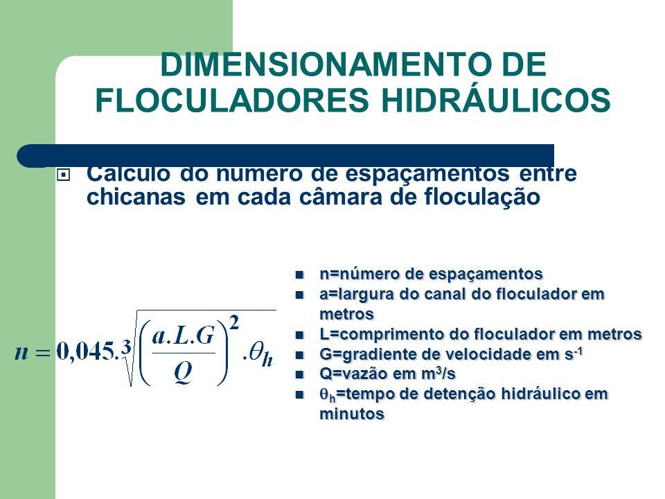 Cálculo do número de espaçamentos entre chicanas em cada câmara de floculação n=número de espaçamentos n=número de espaçamentos a=largura do canal do