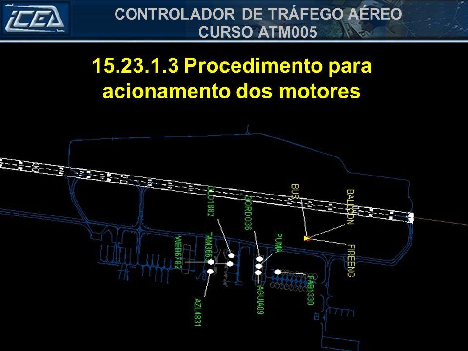 CONTROLADOR DE TRÁFEGO AÉREO CURSO ATM005 15.23.1.3.1 Solicitação a) indicativo do órgão; b) indicativo da aeronave; c) posição da aeronave no pátio;