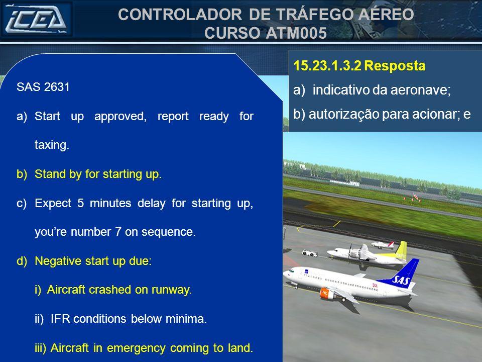 CONTROLADOR DE TRÁFEGO AÉREO CURSO ATM005 15.23.1.3.2 Resposta a) indicativo da aeronave; b) autorização para acionar; e c) instruções complementares