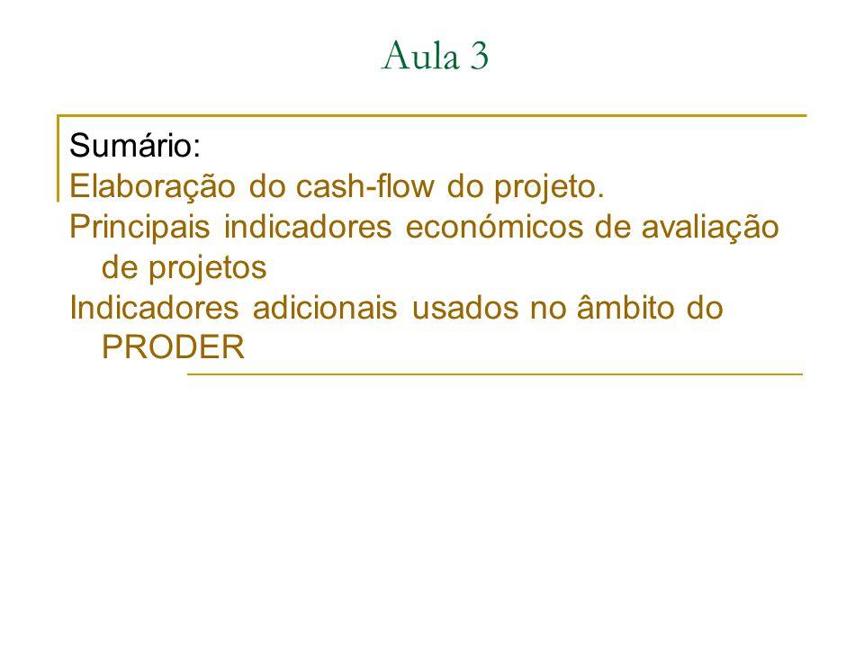 Sumário: Elaboração do cash-flow do projeto.