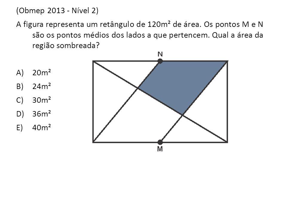 (Obmep 2013 - Nível 2) A figura representa um retângulo de 120m² de área. Os pontos M e N são os pontos médios dos lados a que pertencem. Qual a área