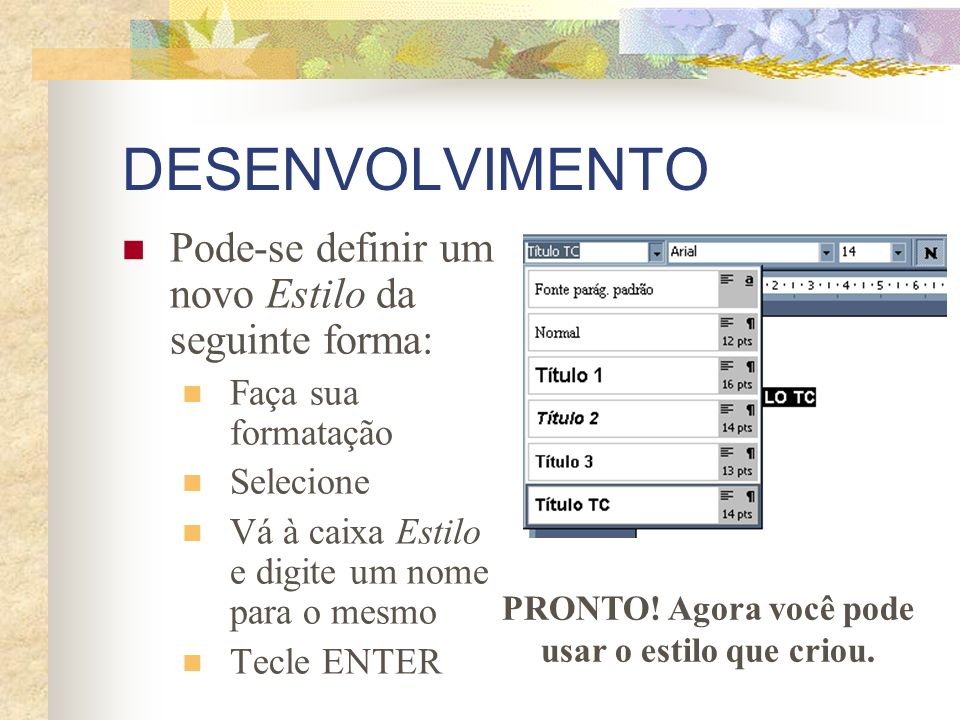 DESENVOLVIMENTO Pode-se definir um novo Estilo da seguinte forma: Faça sua formatação Selecione Vá à caixa Estilo e digite um nome para o mesmo Tecle