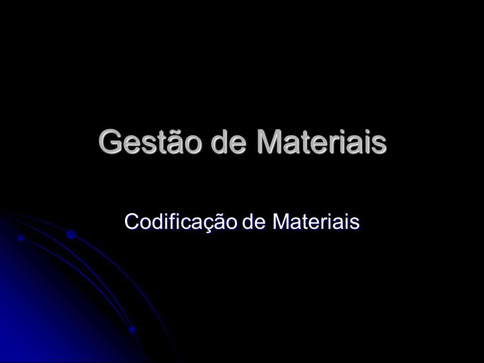 Gestão de Materiais Codificação de Materiais