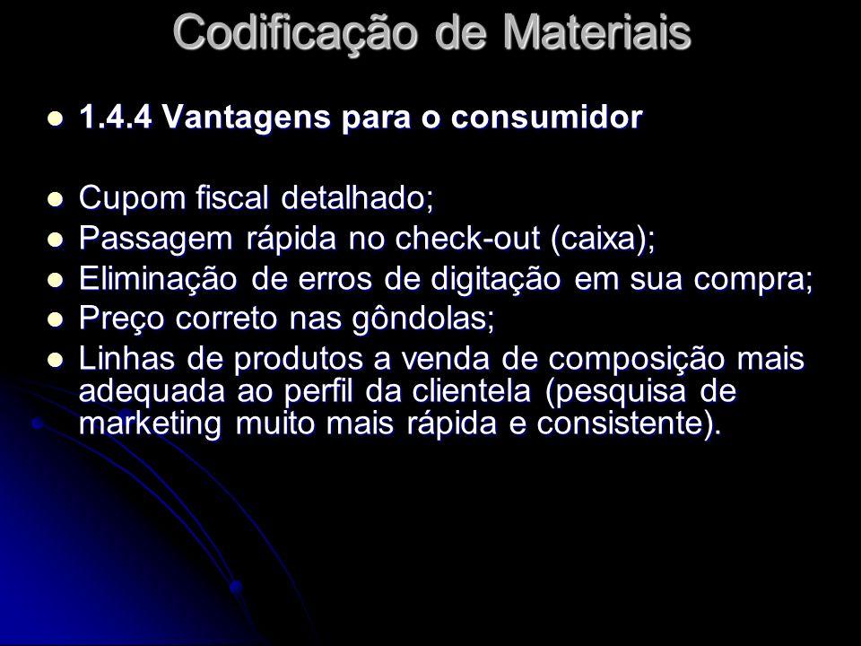1.4.4 Vantagens para o consumidor 1.4.4 Vantagens para o consumidor Cupom fiscal detalhado; Cupom fiscal detalhado; Passagem rápida no check-out (caix