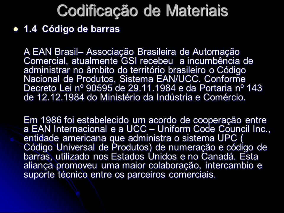 1.4 Código de barras 1.4 Código de barras A EAN Brasil– Associação Brasileira de Automação Comercial, atualmente GSI recebeu a incumbência de administ