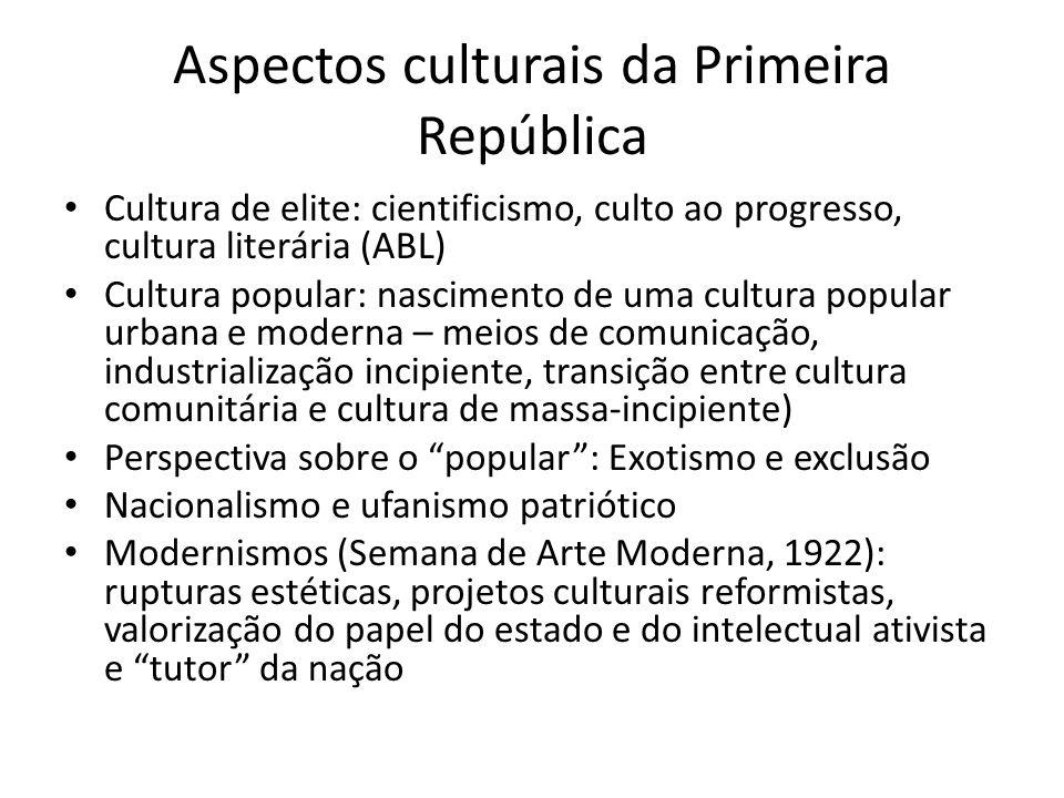 Aspectos culturais da Primeira República Cultura de elite: cientificismo, culto ao progresso, cultura literária (ABL) Cultura popular: nascimento de u