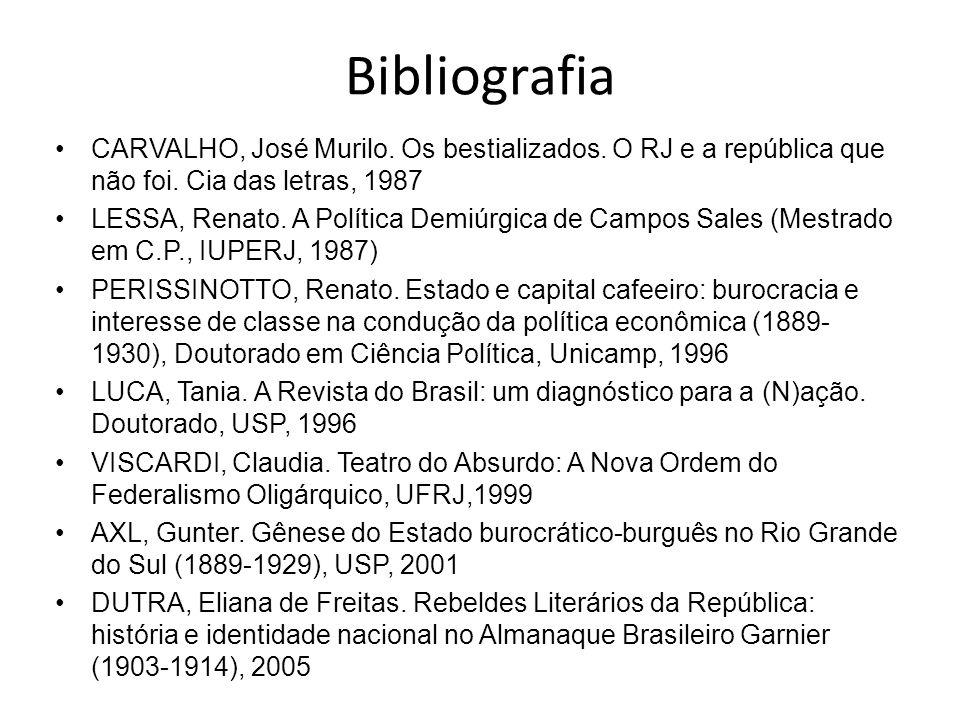 Bibliografia CARVALHO, José Murilo. Os bestializados. O RJ e a república que não foi. Cia das letras, 1987 LESSA, Renato. A Política Demiúrgica de Cam