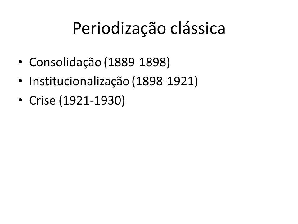 Periodização clássica Consolidação (1889-1898) Institucionalização (1898-1921) Crise (1921-1930)