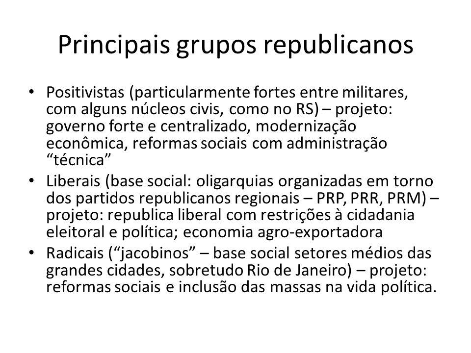 Principais grupos republicanos Positivistas (particularmente fortes entre militares, com alguns núcleos civis, como no RS) – projeto: governo forte e