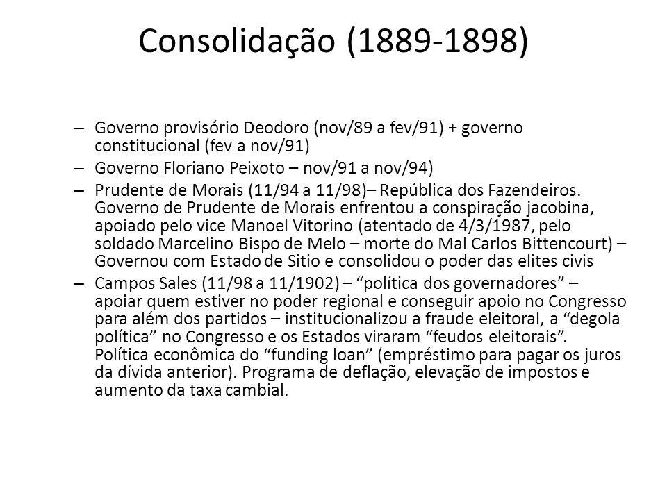 Consolidação (1889-1898) – Governo provisório Deodoro (nov/89 a fev/91) + governo constitucional (fev a nov/91) – Governo Floriano Peixoto – nov/91 a