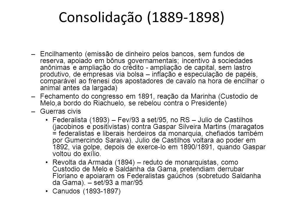 Consolidação (1889-1898) –Encilhamento (emissão de dinheiro pelos bancos, sem fundos de reserva, apoiado em bônus governamentais; incentivo à sociedad