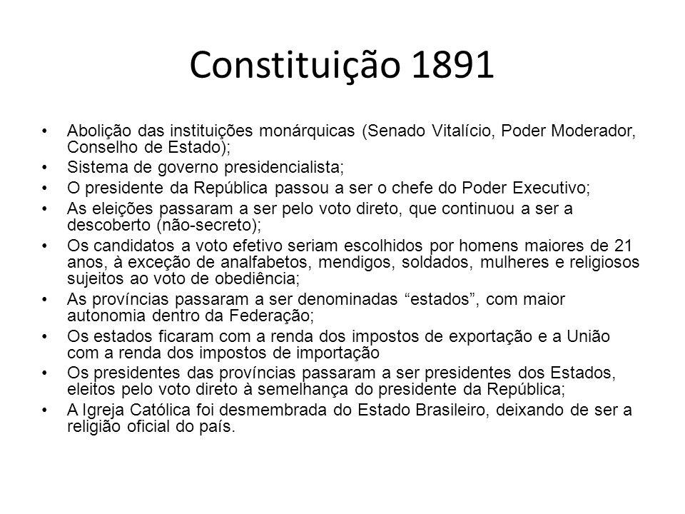 Constituição 1891 Abolição das instituições monárquicas (Senado Vitalício, Poder Moderador, Conselho de Estado); Sistema de governo presidencialista;