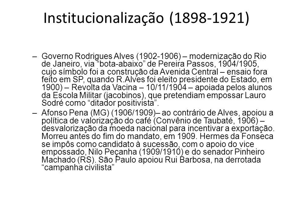 Institucionalização (1898-1921) –Governo Rodrigues Alves (1902-1906) – modernização do Rio de Janeiro, via bota-abaixo de Pereira Passos, 1904/1905, c