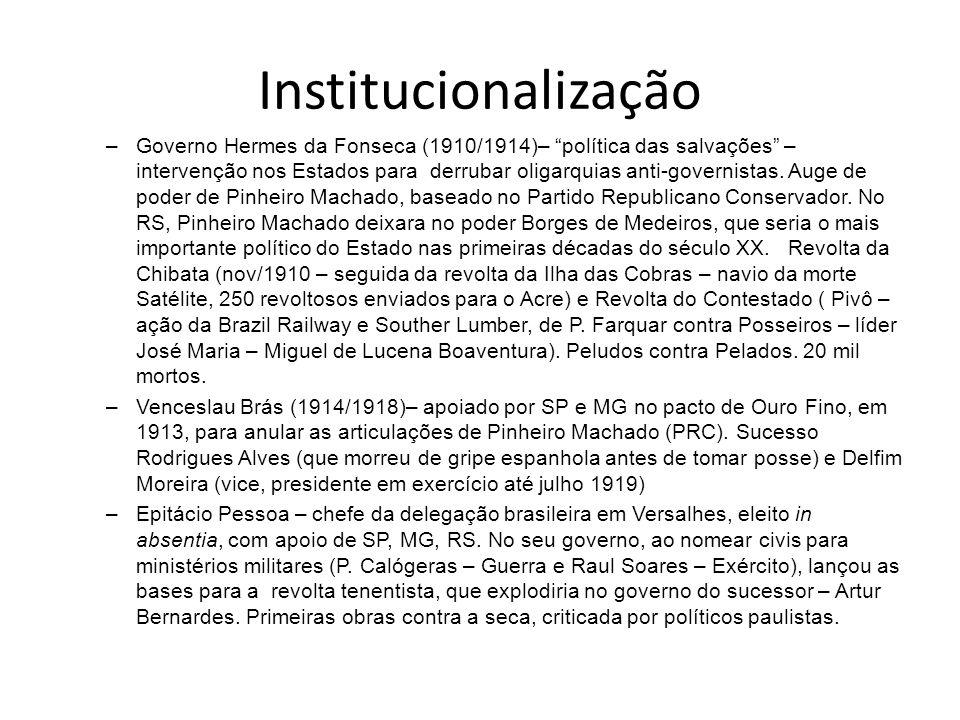 Institucionalização –Governo Hermes da Fonseca (1910/1914)– política das salvações – intervenção nos Estados para derrubar oligarquias anti-governista
