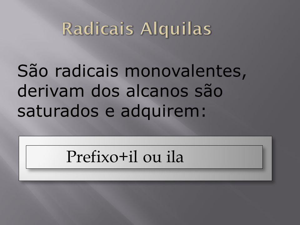 São radicais monovalentes, derivam dos alcanos são saturados e adquirem: Prefixo+il ou ila