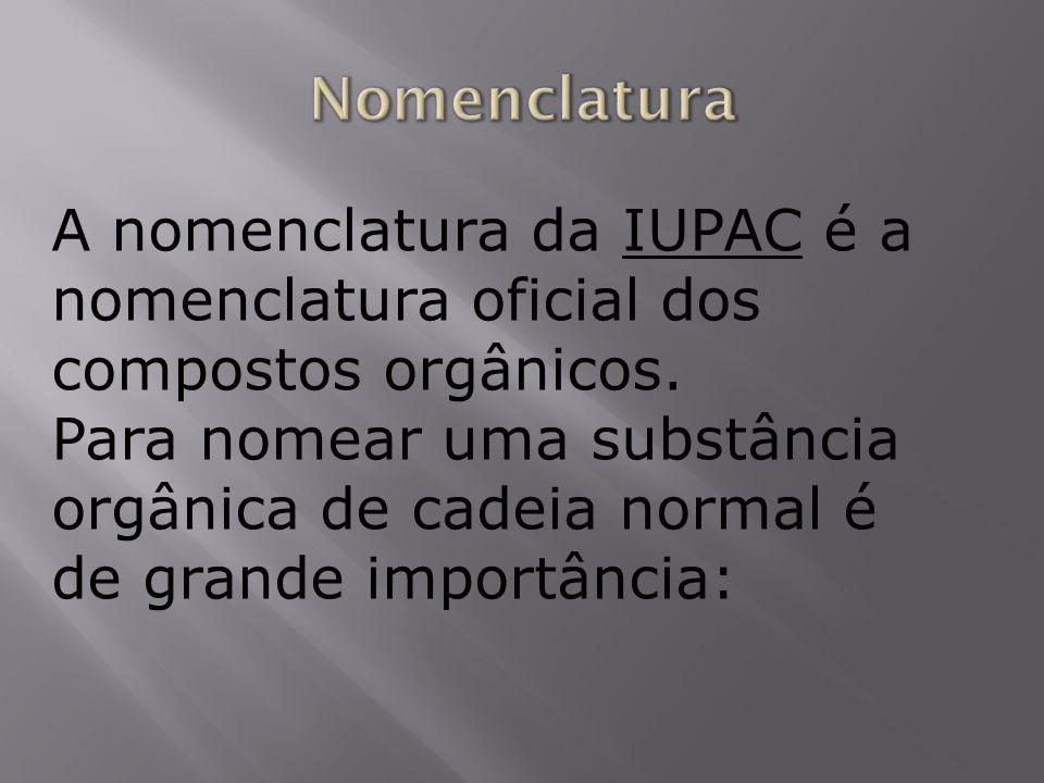 A nomenclatura da IUPAC é a nomenclatura oficial dos compostos orgânicos. Para nomear uma substância orgânica de cadeia normal é de grande importância